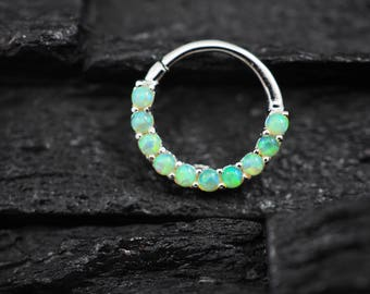Lime green Opal horizontal eternity hoop Daith earring / Cartilage / Septum ring / Nose ring