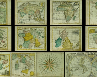 Collection#2 of 12 vintage images pictures Maps 1737s (Russian language)  Instant Download printable for scrapbooking, decor,  prints, etc