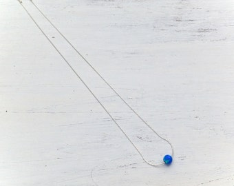 Opal Necklace,sterling silver necklace,opal necklace silver,royal blue opal,ball opal necklace,simple necklace,minimalist,opal jewelry 20098