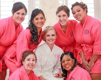 BRIDAL PARTY ROBES - Hot Pink Cotton Robes - Personalized Robes - Getting Ready Robe - Bridesmaids Robes - Monogrammed Robes - Kimono Robe