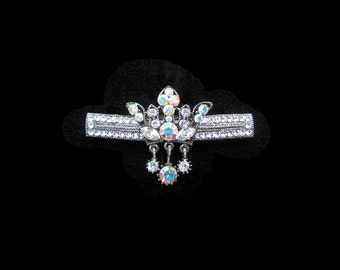 Crystal Crown With Dangling Drops Barrette Hair Clip Antique Silver Tone Clear