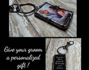 Glas-Schlüsselanhänger, Bräutigam Geschenk, Valentinstag Hochzeit Charme, Braut Charme, Memorial Foto Charme, Vater der Brautgeschenk gelötet,