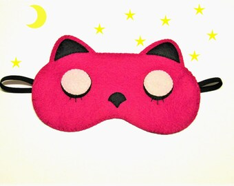 Sleep mask pink Cat felt Pajamas Spa night sleep party favors soft eye traveling sleeping accessory handmade Gift for girl kids her woman