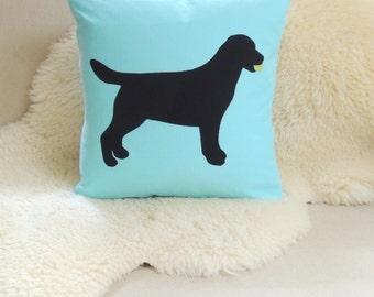 Labrador Retriever With Tennis Ball Pillow Cover - Black Lab