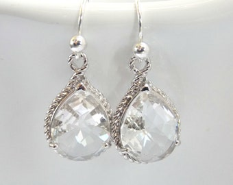 Clear Earrings, Crystal Earrings, Glass, Silver, Wedding Jewelry, Bride Earrings, Bridesmaid Earrings, Bridal Earrings, Bridesmaid Gifts