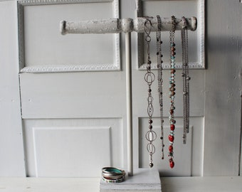 """Tall Necklace Stand 19"""" Chippy White - Jewelry Display - Necklace Holder - Recycled Architectural Salvage Display - Qty Available"""