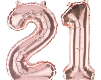 "21 Rose Gold Jumbo Balloon Numbers 34"" balloon set"