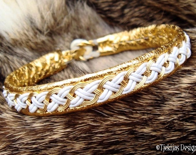 Shieldmaidens Gold and Leather Bracelet Cuff DRAUPNIR Luxury Custom Handmade Viking Bracelet in Traditional Sami Style