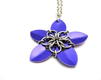 Purple Scalemaille Flower Pendant Necklace