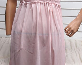 Pink Vouge  Vintage Nylon Nightgown Small #456