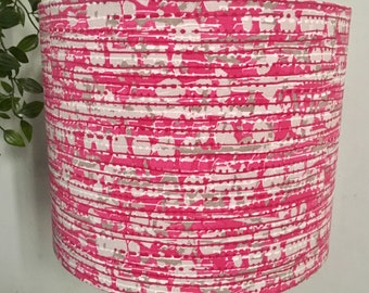 Handmade Drum Lampshade in Gorgeous pink Patterned Fabric and Hot Pink Lining