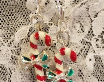 Candy Cane Silvertone Dangle Earrings