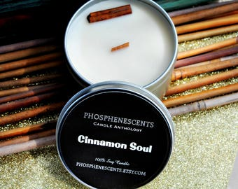 Cinnamon Soul Scented 6.5 oz. Natural Soy Wood Wick Travel Candle Tin