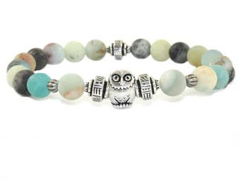 Owl Totem Bracelet, Amazonite Gemstone Beads, Mindfulness Jewelry