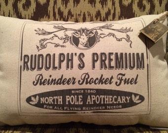 Vintage Christmas Label Pillow/Holiday/Christmas