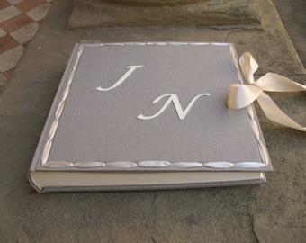 Wedding photo album bespoke with satin ribbon made in italy