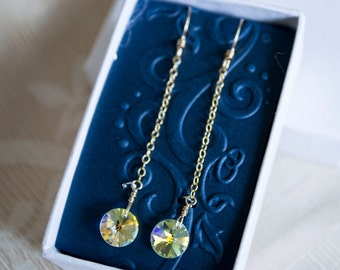 "Swarovski round pendant long 1 3/4"" drop earrings with gold filled chains and earwires"