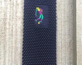 Vintage Crochet Tie - Vintage Golf Tie - Golf Gift -  Navy Blue Tie - Flat End Tie - Square End Tie - 80s Vintage Necktie