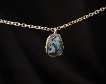Indian Moss Agate Sterling Silver Charm Pendant