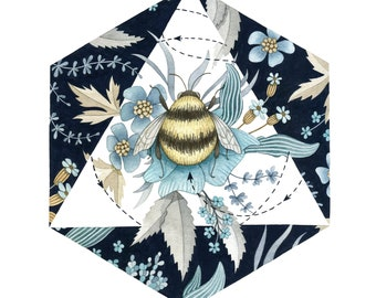 Square winter bee print