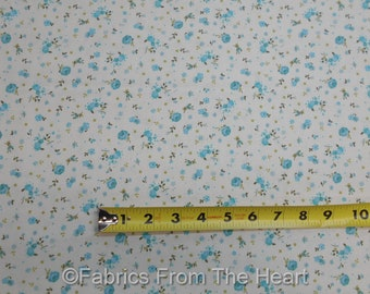 Roses Turquoise Flowers Abigal Garden on Cream BY YARDS Benartex Cotton Fabric