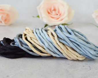 Hand dyed Silk Cords  - lot of 6 - black grey beige silk cords - jewelry cord