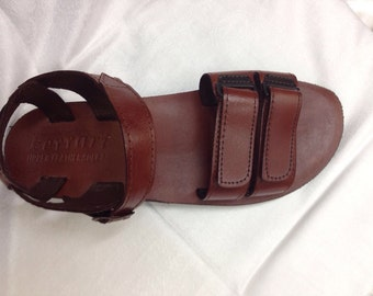Brown Jesus  leather sandals for men , double scotch sandals very comfortable summer shoes made in Jerusalem ,