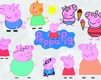 11 Peppa Pig clipart | SVG Cut files | 300 ppi