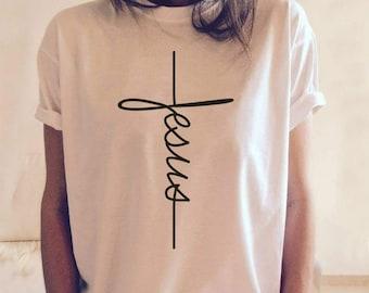 Jesus T-shirt, Jesus, Christian shirt, Jesus shirt, vertical cross, cross, Jesus cross, religious shirt