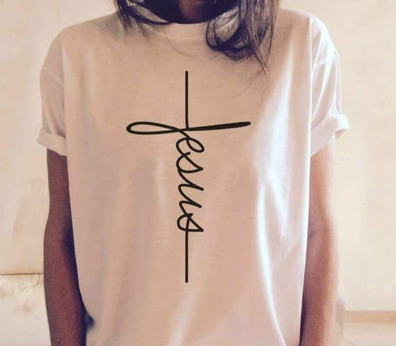 Jesus T Shirt, Jesus, Christian Shirt, Jesus Shirt, Vertical Cross, Cross, Jesus Cross, Religious Shirt by Etsy