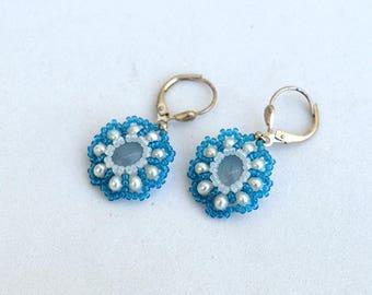 Delicate flower earrings with chalcedony and pearls Blue white earrings Small daisy earrings Beadwork flower earrings Floral jewelry E182