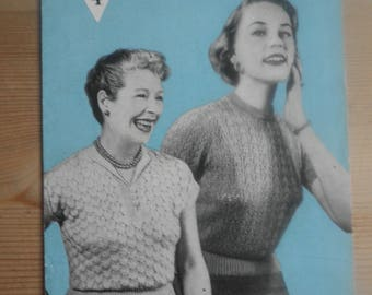 Vintage 1940's knitting pattern, two lacy jumpers, Bestway A2557