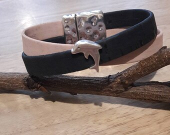 Vegan leather Cork Dolphin bracelet