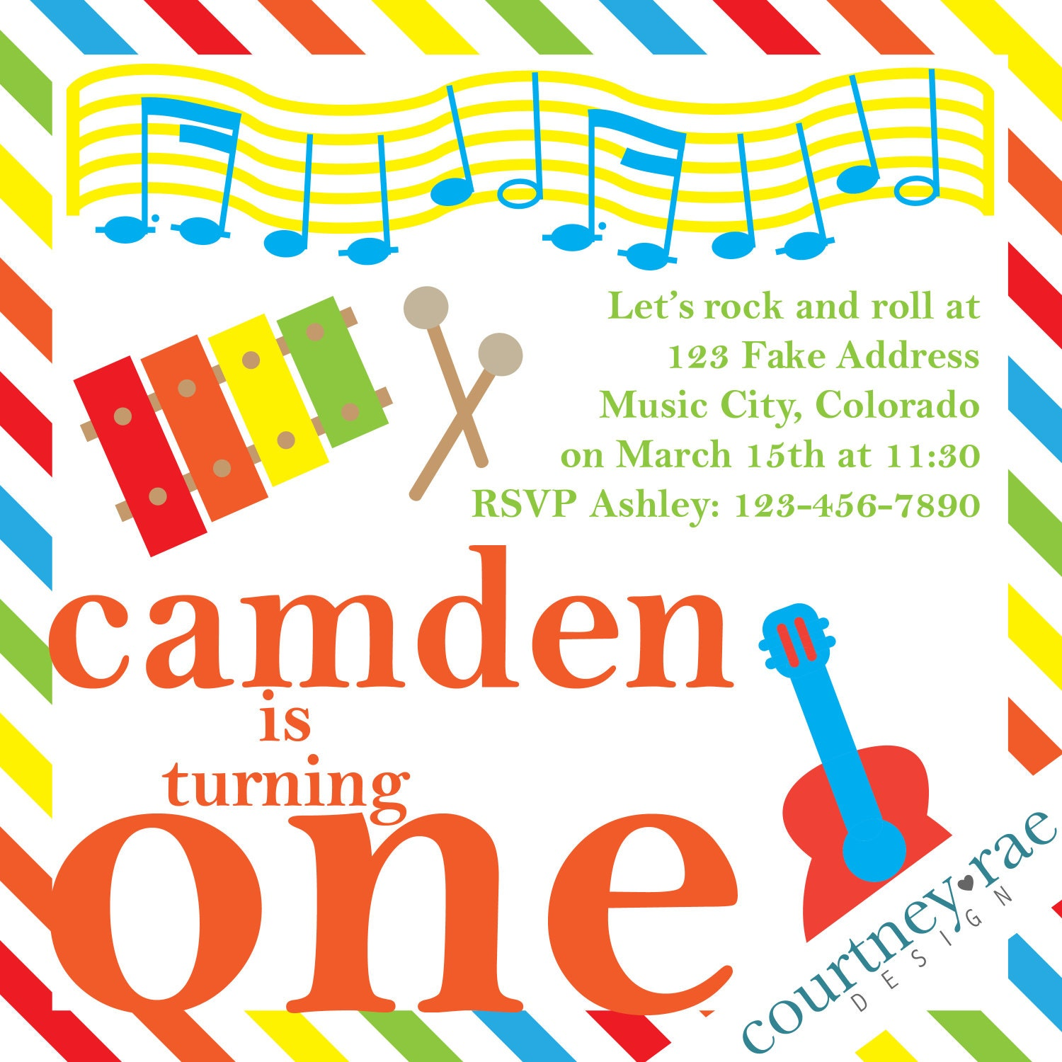 Music Themed Birthday Party Invitations bar mitzvah invitations