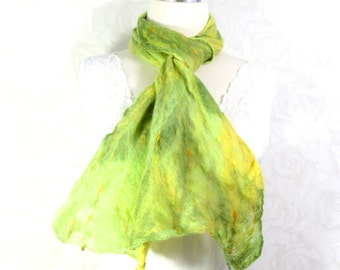 Cobweb Felted Green Scarf Wool Scarf Long Scarf Womens Scarf Winter Accessory Lightweight Scarf in Bright Green, Yellow OOAK Gifts for Her