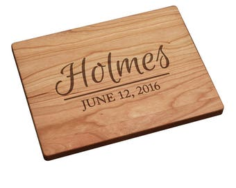 Personalized Cutting Board - Engraved Cutting Board, Personalized Wedding Gift, Housewarming Gift, Anniversary Gift Last Name/Date in Center