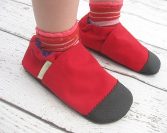 Organic Vegan Heavy Canvas Red / non-slip soft sole baby shoes / made to order / babies toddlers preschool