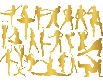 Instant Download Dancers Gold Silhouettes Digital Clipart Ballet Dancer Clip Art Ballerina Gold Silhouettes Break Dancing Silhouette 0277g
