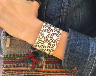 Geometric lace laser cut leather cuff bracelet