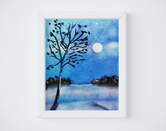 Blue Watercolor, Blue Watercolor Print, Blue Prints, Blue Print Art, Printable Watercolor, Blue Wall Art, Blue Wall Decor, Printable Art