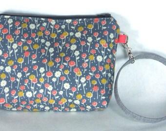 Grey Floral Wristlet / Small Purse / Handbag or Cosmetic Bag