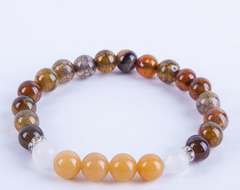 Handmade MALA bracelet 8mm  agate and topaz
