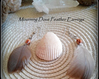 Mourning Dove Feather Earrings, Dangle Earrings with Mourning Dove Feather and Wood Bead