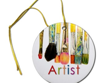 Artist Original Art Print of Paint Brushes on a Ceramic Hanging Ornament