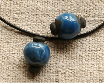 raku beads - Set of 2 blue ceramic beads
