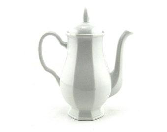 Vintage White Porcelain Teapot or Coffee Pot