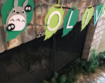 Perosnalized Name banner-Totoro-baby shower-My neighbor totoro-Totoro party-baby party-First Birthday-Birthday theme-Party Decor