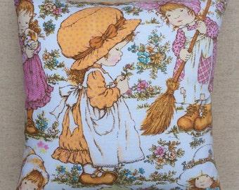 Vintage Fabric Cushion Hollie Hobbie By Sarah Kay 40cmx 40cm