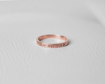 Dainty Coordinates Ring - Custom Coordinates Ring - Personalized Latitude Longitude Jewelry - Thin Stackable Band Ring FR02E