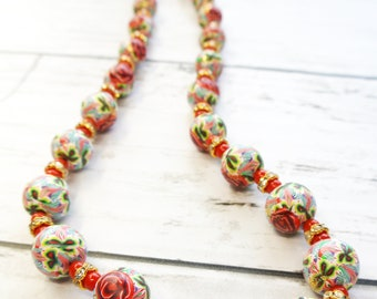 Necklace - Red coral and Roses. Polymer clay beads and Red coral beads. Clay art jewellery. NC14